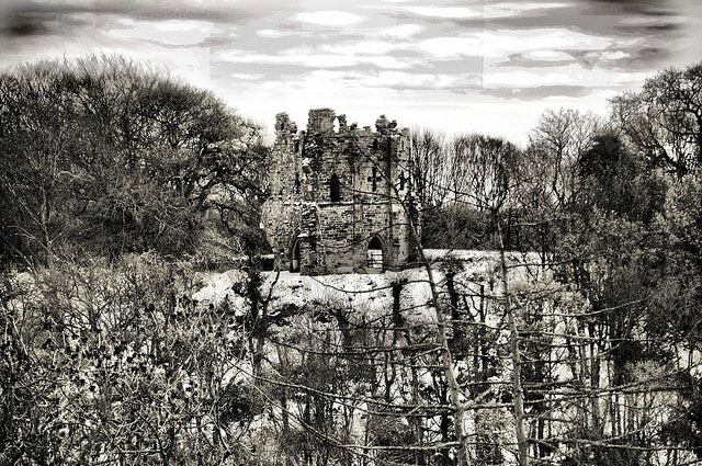 Mowbray Castle in Black and White