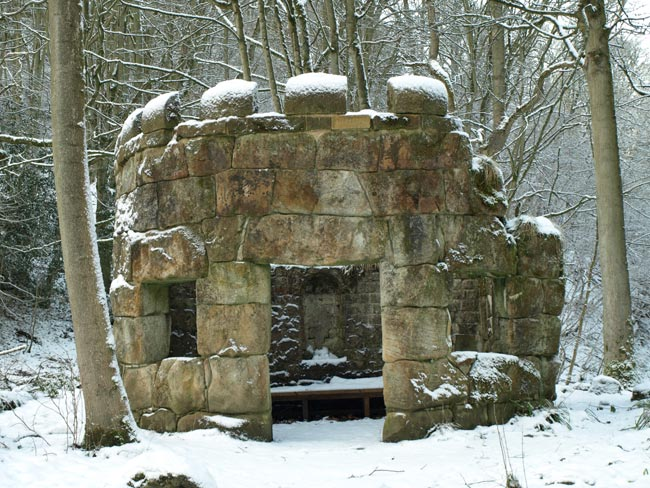 Rustic Temple in snow