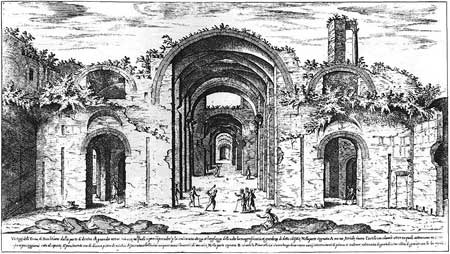 Roman ruin baths of Diocletian in Rome